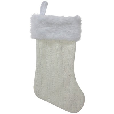 "Northlight 19"" Cream Cable Knit With White Faux Fur Cuff Christmas Stocking"