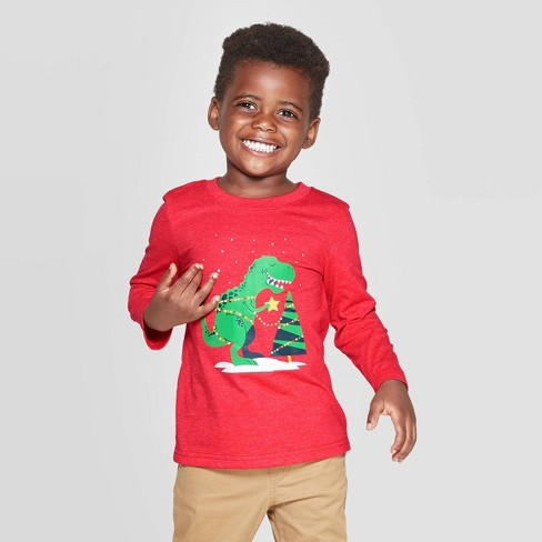 Toddler Boys' Christmas Dinosaur Long Sleeve Graphic T-Shirt - Cat & Jack™ Red - image 1 of 3