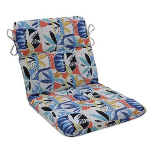 Outdoor/Indoor Rounded Chair Pad Upbeat Disco Blue - Pillow Perfect - image 1 of 1