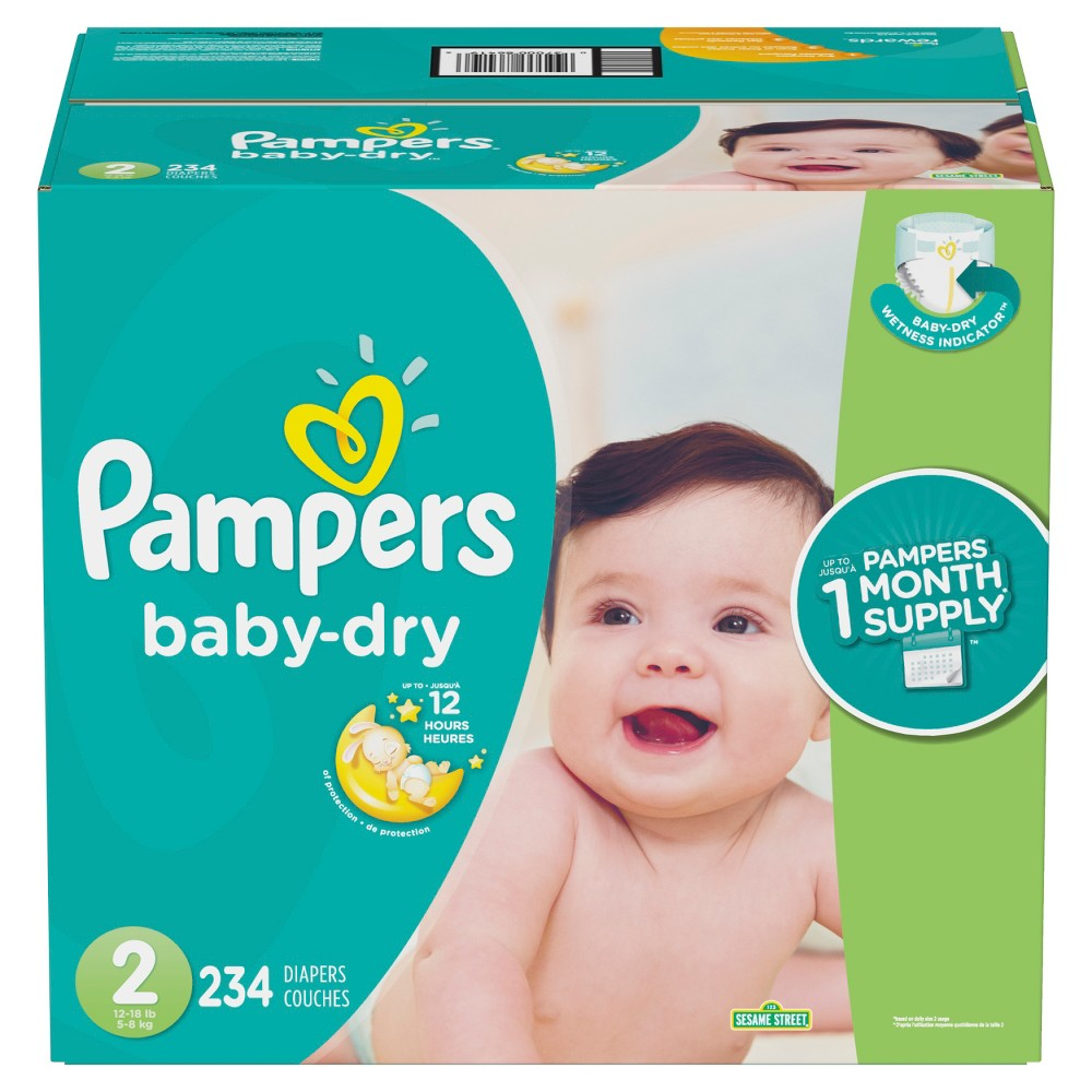 Pampers Baby Dry Disposable Diapers One Month Supply - Size 2 (234ct)