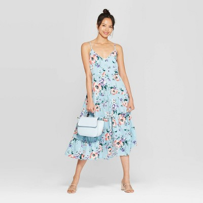 414f10f4c74 Women's Floral Print Scoop Neck Strappy Button Front Tiered Midi Dress -  Xhilaration™ Dusty Blue