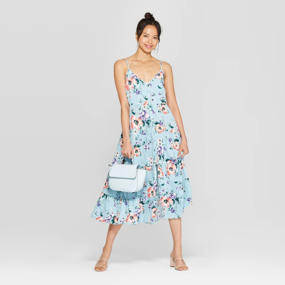 Strappy Button Front Tiered Midi Dress flowers floral blue woman