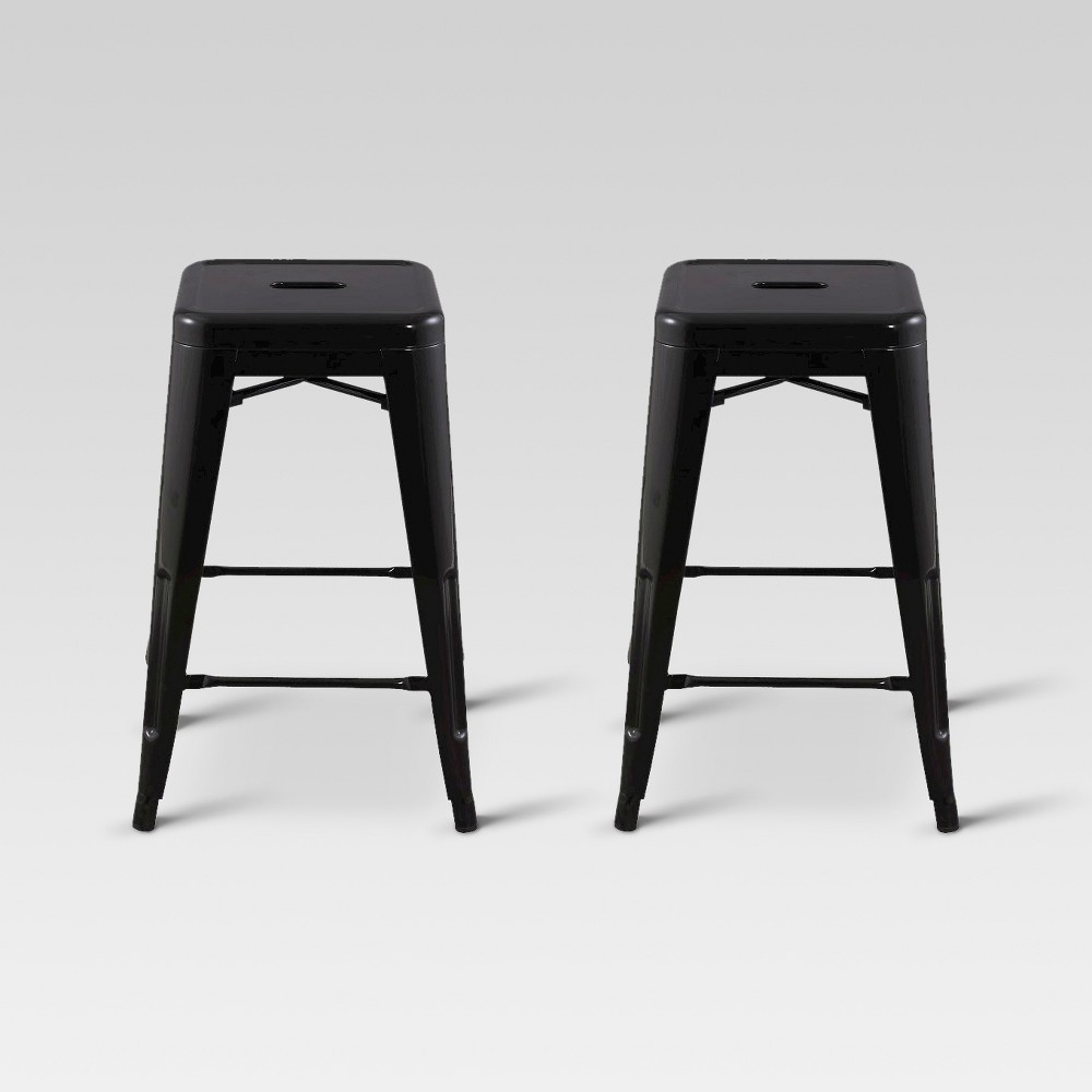 Pleasant Carlisle 24 Metal Counter Stool Black Set Of 2 Threshold Unemploymentrelief Wooden Chair Designs For Living Room Unemploymentrelieforg