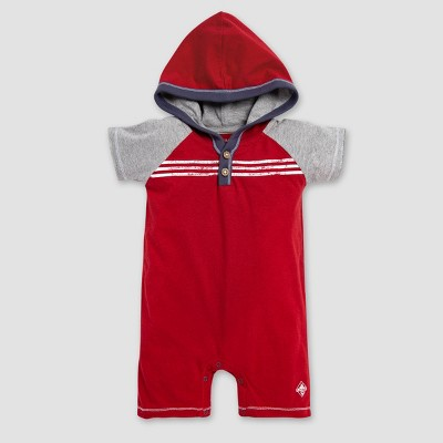 Burt's Bees Baby® Baby Boys' Raglan Hooded Shortalls - Red/Gray 24M