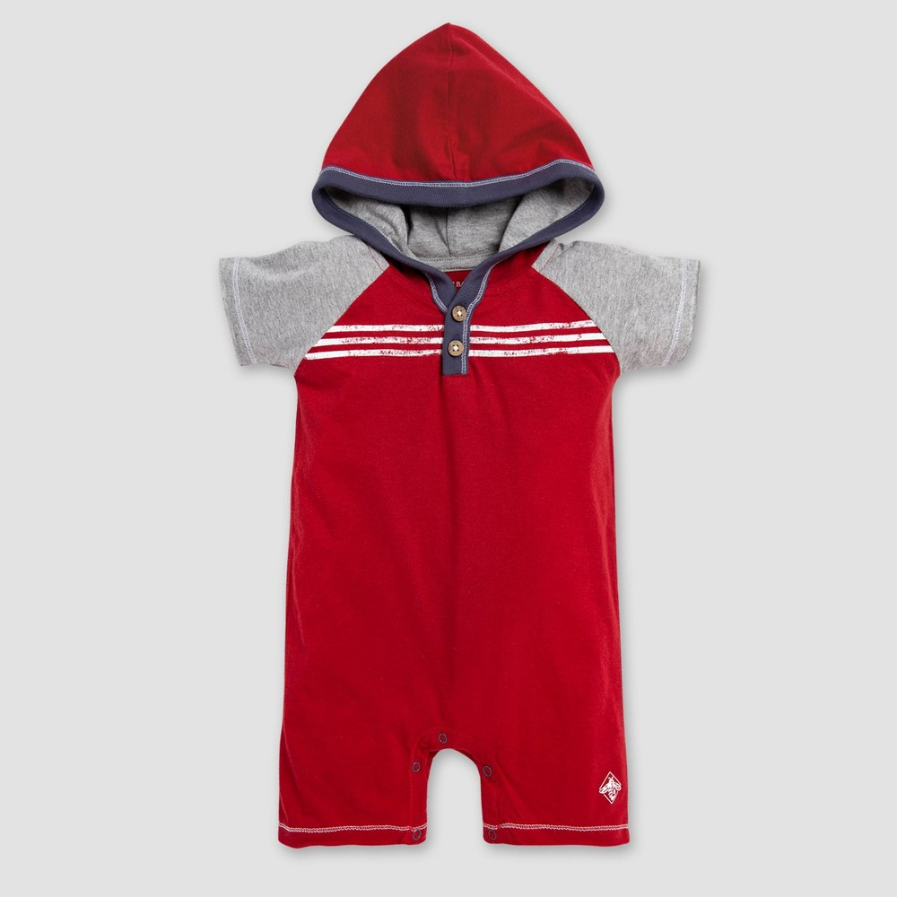 Image of Burt's Bees Baby Baby Boys' Raglan Hooded Shortalls - Red/Gray 0-3M, Boy's, Size: Small