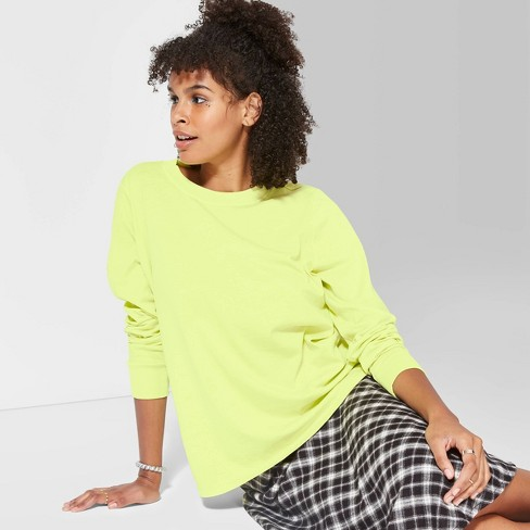 Women's Long Sleeve Crewneck Relaxed T-Shirt - Wild Fable™ Neon Yellow - image 1 of 3