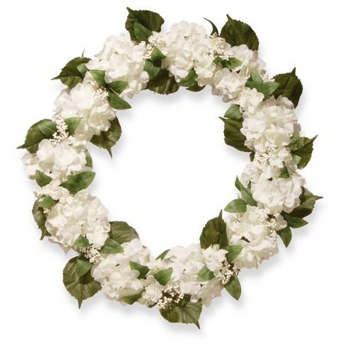 "Artificial Hydrangea Wreath White 32"" - National Tree Company® - image 1 of 1"