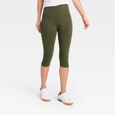 Women's High-Waist Cotton Blend Seamless Capri Leggings - A New Day™