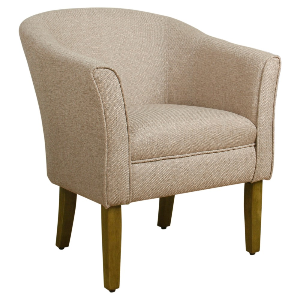 Modern Barrel Accent Chair - Flax Brown - Homepop
