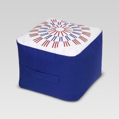 Firework Embroidered Outdoor Pouf - Blue - Threshold™