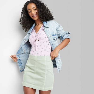 Women's Seamed Denim Mini Skirt - Wild Fable™