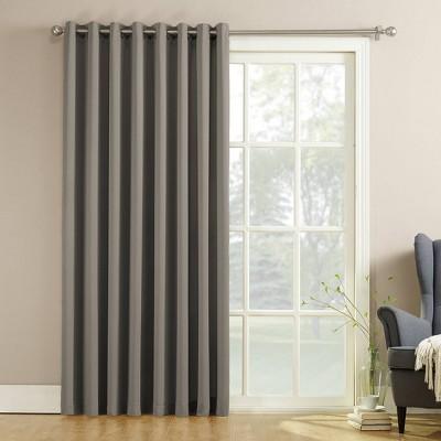 "84""x100"" Seymour Extra Wide Energy Efficient Patio Room Darkening Curtain Panel Gray - Sun Zero"