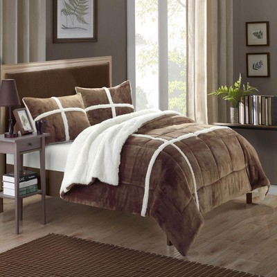 Chic Home Chloe Plush Microsuede Soft & Cozy Sherpa Lined Comforter & Shams Set, 3 Piece - Brown