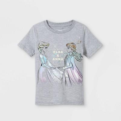 Toddler Girls' Frozen Elsa & Anna Short Sleeve Graphic T-Shirt - Gray - Disney Store