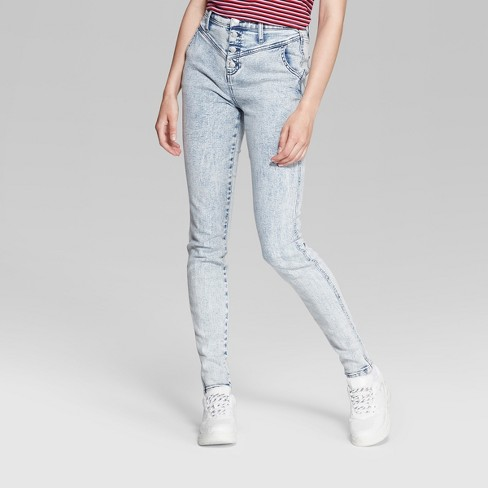 b6138ddb3a96 Women's High-Rise Button Fly Acid Wash Skinny Jeans - Wild Fable™ Light Wash  : Target