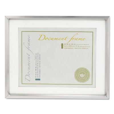 Universal Plastic Document Frame w/Mat 11 x 14 & 8 1/2 x 11 Inserts Metallic Silver 76854