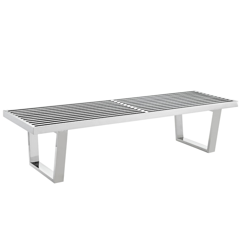 Sauna 5 Stainless Steel Bench Silver - Modway