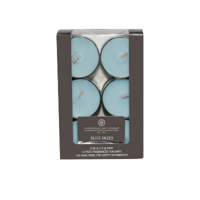4.6  12pk Tealight Candle Blue Skies - Chesapeake Bay Candle