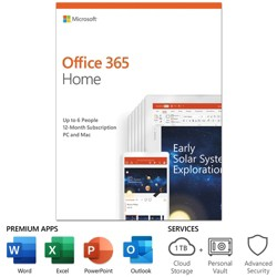 Microsoft Office 365 Home 1 Year Subscription for Up to 6 Users