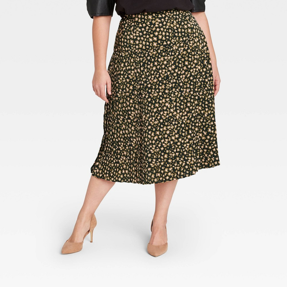 Women 39 S Plus Size Leopard Print Pleated Midi Skirt Who What Wear 8482 Brown 24w