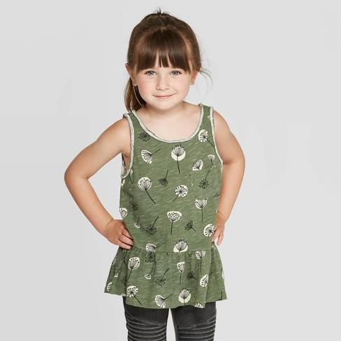 Toddler Girls' Floral Peplum Tank Top - art class™ Green - image 1 of 3