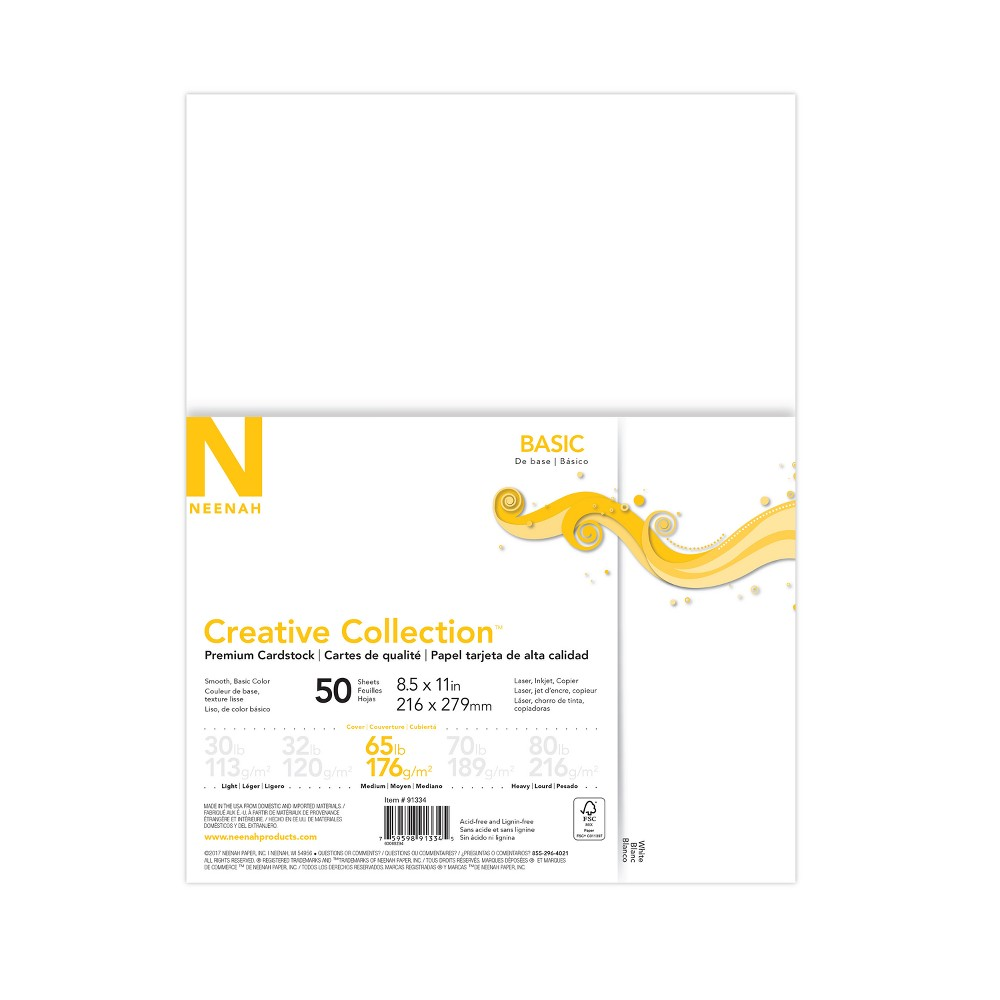 Image of 50ct Premium Cardstock 65lb White - Creative Collection