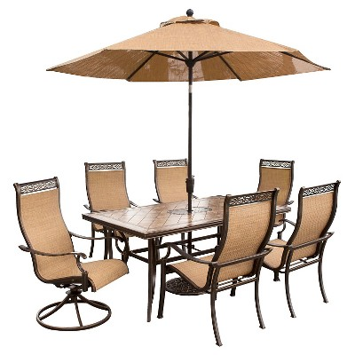 Etonnant Hanover Outdoor Furniture Monaco 7 Pc. Dining Set With Umbrella  Two Swivel  Chairs, Four Dining Chairs, And A 40 X 68 In. Table With Umbrella