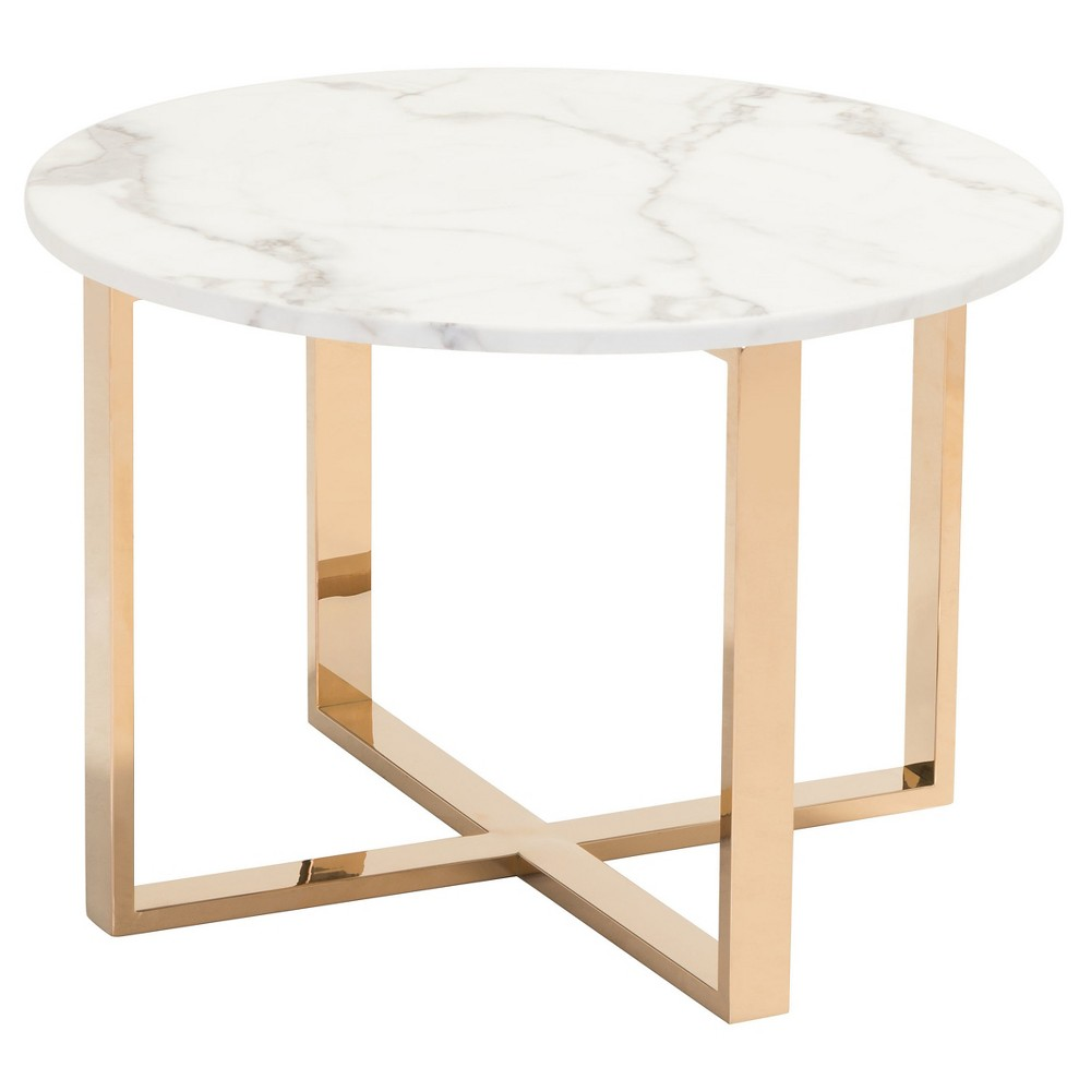Modern 24 Round Faux Marble and Stainless Steel End Table - Gold - ZM Home