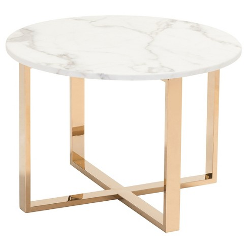 Modern 24 Round Faux Marble And Stainless Steel End Table Gold Zm Home