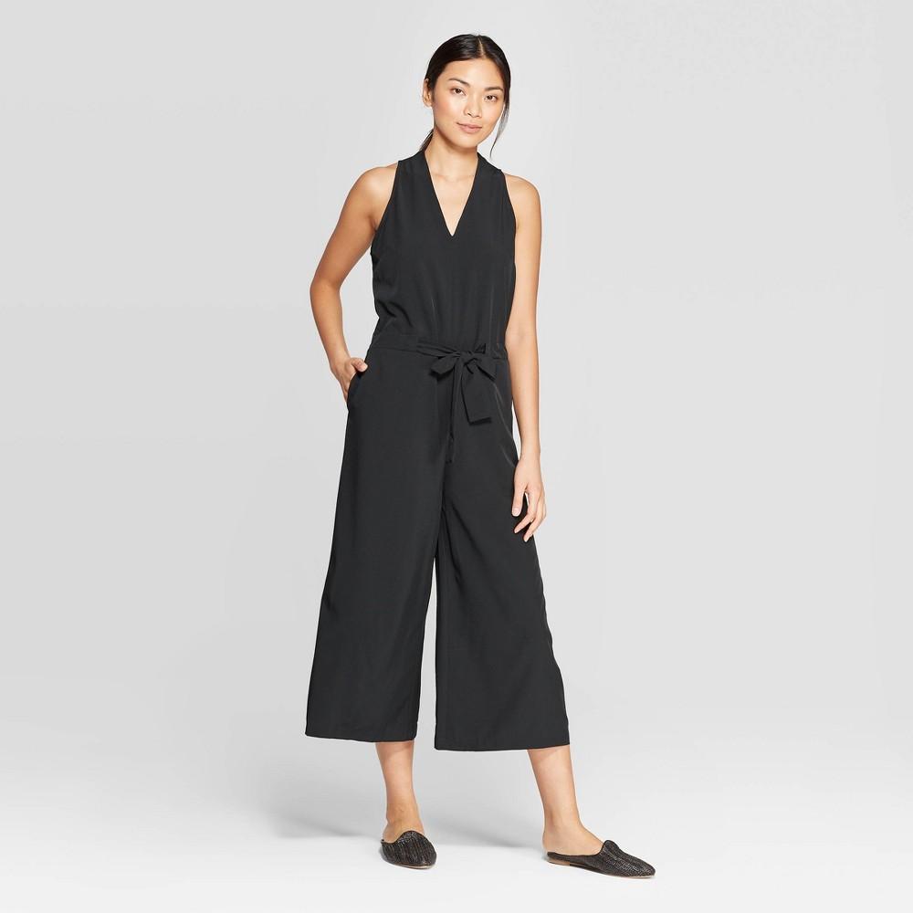 Women's Sleeveless V-Neck Faux Halter Tie Wide Leg Jumpsuit - Prologue Black L