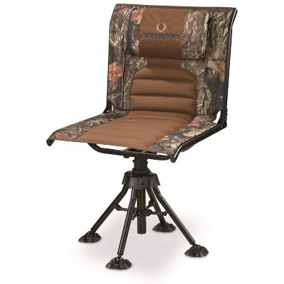 Bolderton Portable Folding Steel-Frame 360-Degree Silent Swivel Hunting/Camping Chair with Comfortable Padding, Mossy Oak Camouflage