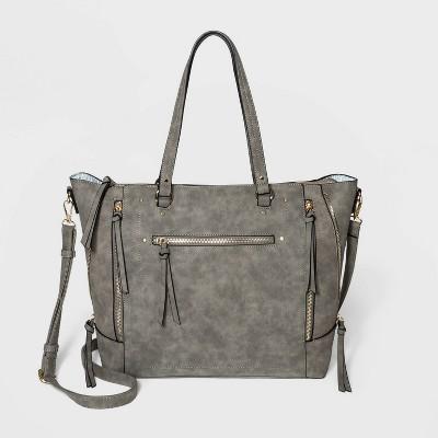 VR NYC Zip Closure Tote Handbag - Gray