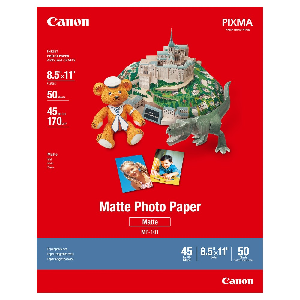 Canon MP-101 Letter Matte Photo Paper 8.5 x11  50 Sheets - White (7981A004) Canon Matte Phot Paper delivers superior photo results with a matte finish and heavy-weight paper that is ideal. This bright white paper will infuse your images with remarkably vibrant color every time. Additionally, the texture and weight of this paper make it ideal for paper crafts. Enjoy 50, 8.5  x 11  sheets in this package. Size: 8.5 x11 .
