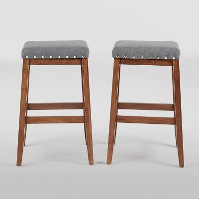 Set of 2 Greely Farmhouse Barstools Charcoal/Walnut - Christopher Knight Home