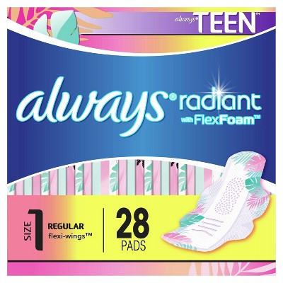 Always Radiant FlexFoam Teen Pads Regular Absorbency with Wings - Unscented - 28ct