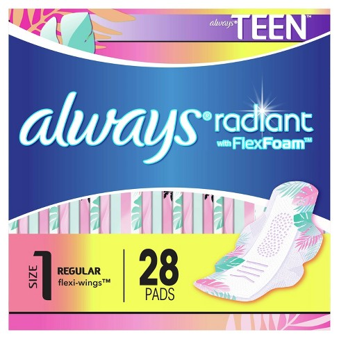 Always Radiant FlexFoam Teen Pads Regular Absorbency with Wings - Unscented - 28ct - image 1 of 4