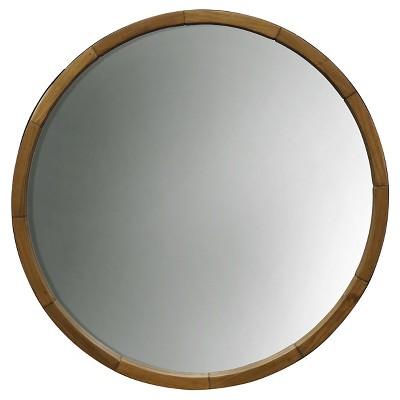 Round Decorative Wall Mirror Wood Barrel Frame - Threshold™