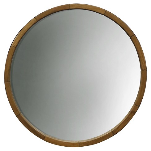 Round Decorative Wall Mirror Wood Barrel Frame - Threshold™ - image 1 of 6