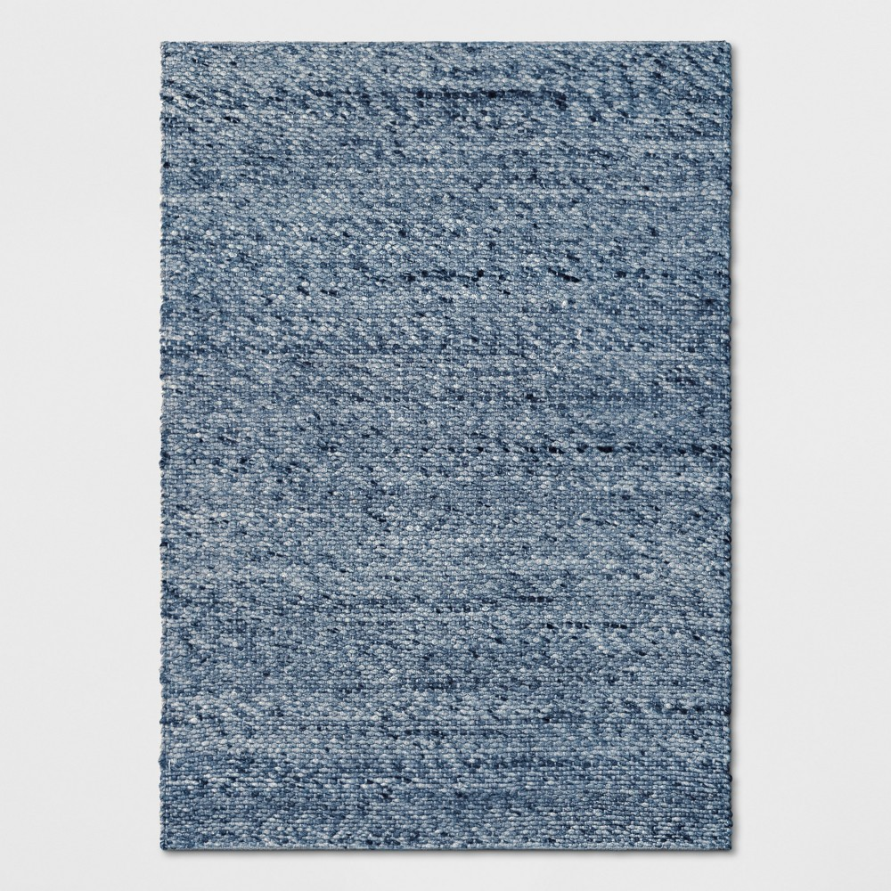 Chunky Knit Wool Woven Rug 7'X10' Indigo (Blue) - Project 62