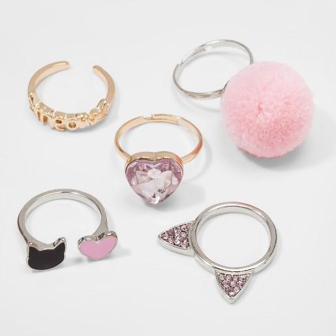 Ring In Kaars.Girls 5pk Pom Hearts Cat Ears Ring Set Cat Jack Pink Target
