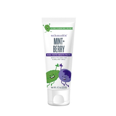 Schmidt's Mint + Berry Fluoride-Free Mouth and Toothpaste for Kids - 4.7oz