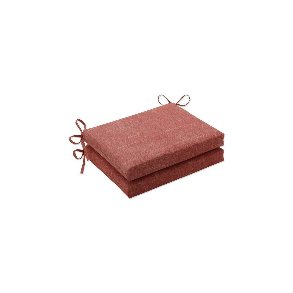 2pk Outdoor Indoor Rounded Corners Seat Chair Pad Set Tory Sunset Orange Pillow Perfect