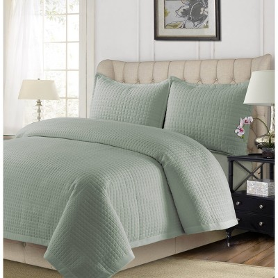 3pc Queen Como Oversized Quilt Set Sage Green - Tribeca Living