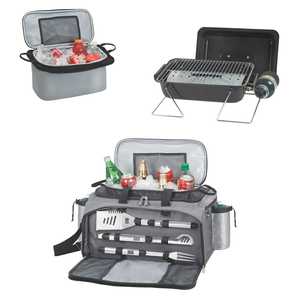Picnic Time Vulcan - Propane Picnic Time Grill /Cooler/ 3 Pc Tools Model 770-00-175, Black With the Vulcan Propane Grill and Cooler 3-Piece Tools and Trolley from Picnic Time, you have everything that you need rolled into one great portable package. You have a picnic party barbecue in a neat package with the grill and cooler in a handy rolling tote. You can hold up to 24 12-ounce cans in the cooler along with a large ice or gel pack for keeping the contents cool. The propane grill offers 164 square inches of cooking surface for grilling up delicious foods. When you are done, just pack everything up and use the trolley for easy transport. Color: Black.