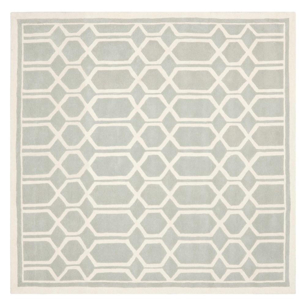 5'X5' Geometric Tufted Square Area Rug Gray/Ivory - Safavieh