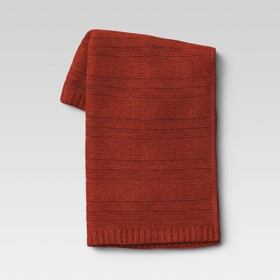 "50""x60"" Chunky Striped Knit Throw Blanket Rust - Threshold™"