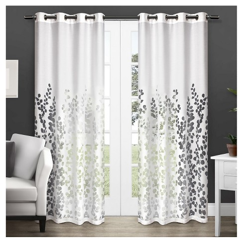 Set of 2 Wilshire Sheer Window Curtain Panel - Exclusive Home - image 1 of 4