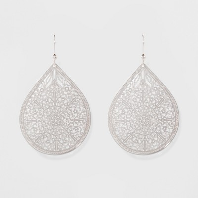 Women's Fashion Earring Filigree - A New Day™ Silver
