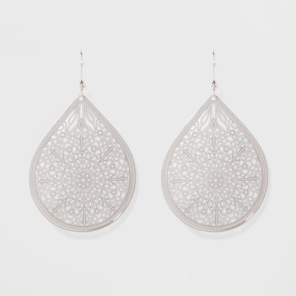 Women's Fashion Earring Filigree - A New Day Silver, Shiney Silver