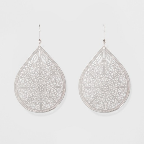 Women's Fashion Earring Filigree - A New Day™ Silver - image 1 of 2
